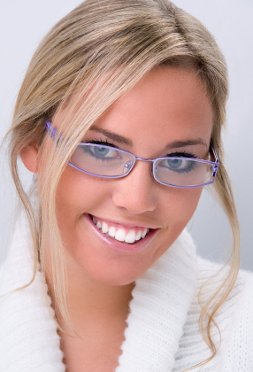 Blonde woman with blue glasses and eyes