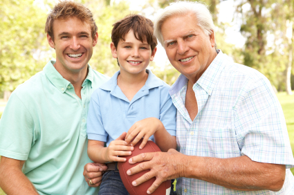 multiple generation white males of a family